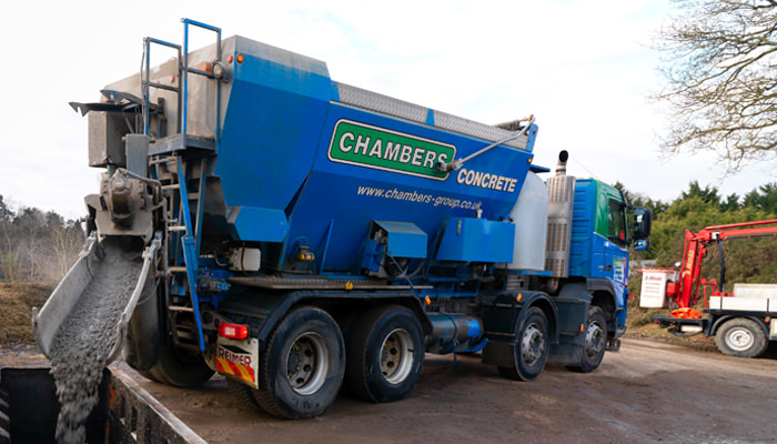 Chambers ready mix concrete truck in action