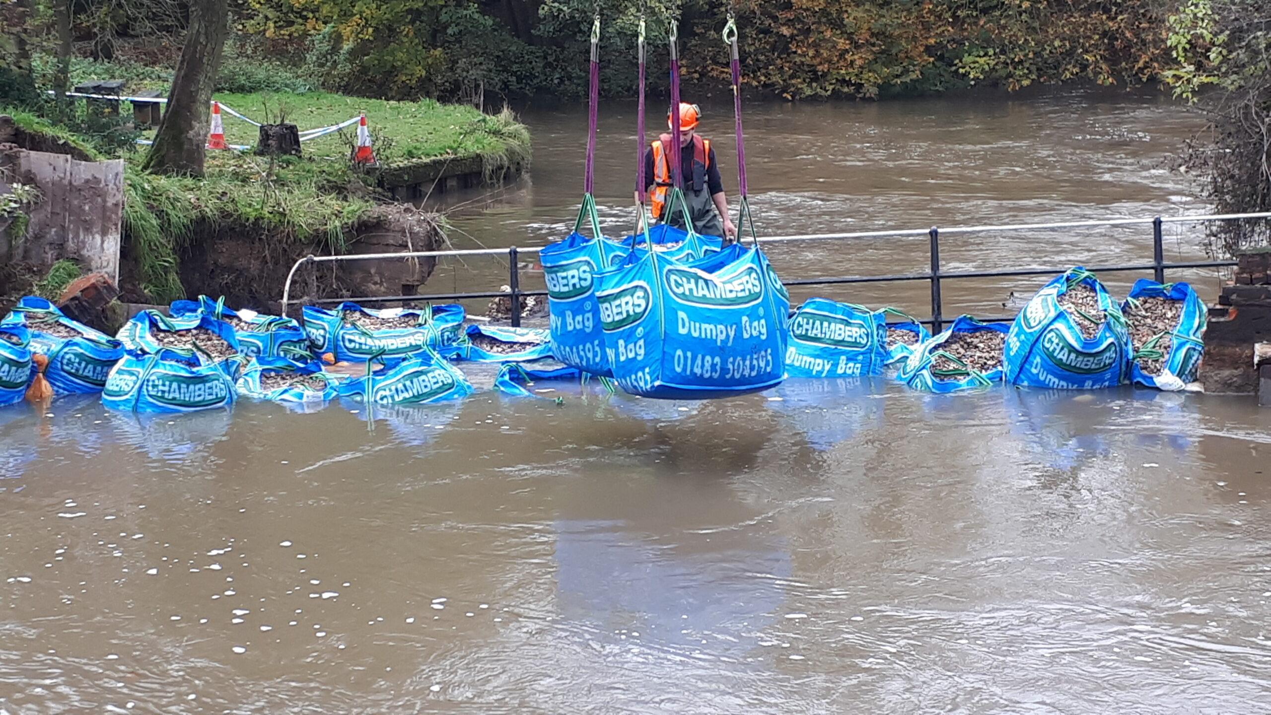 Chambers dumpy bags used to block flood