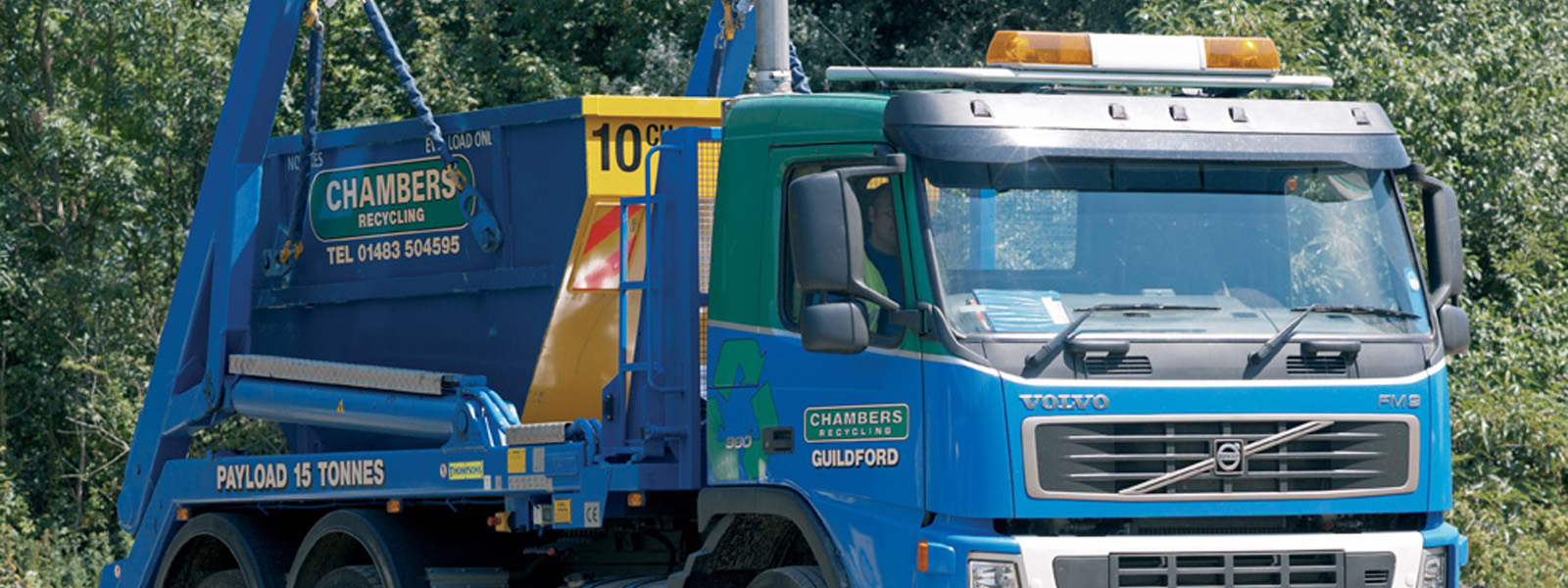 Chambers lorry with skip on the back